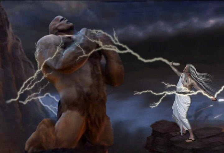 Zeus vs Cronus. Photo credits: shindoku90-d5s4eag on DeviantArt.