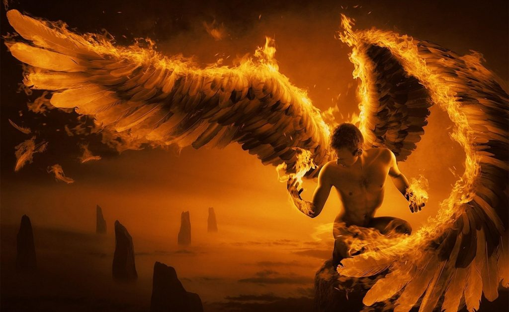 angel with wings on fire