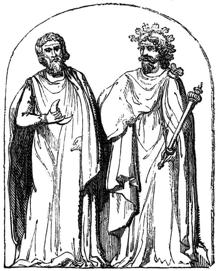 "Two druids. Photo credits: J.R. Planché, ""History of British costume"" (1836)."