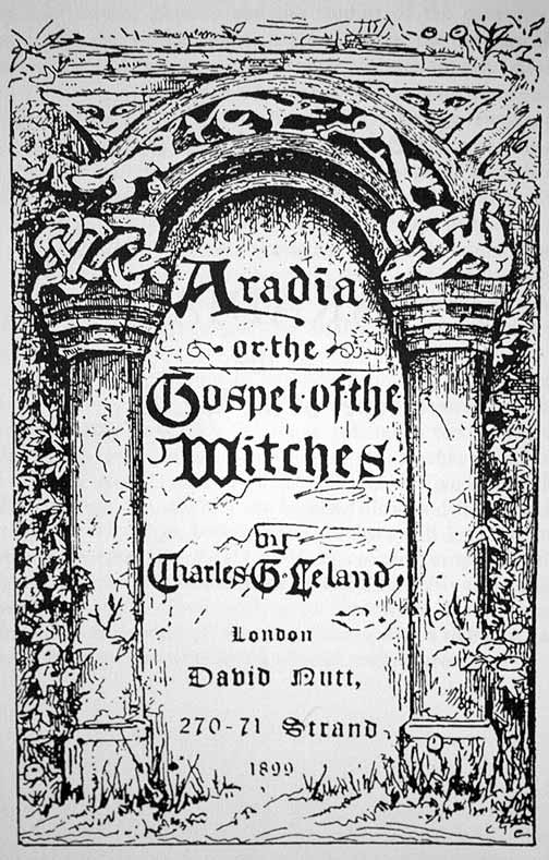 Title page from Charles Godfrey Leland's Gospel of the Witches. Photo credits: illustrator unknown.