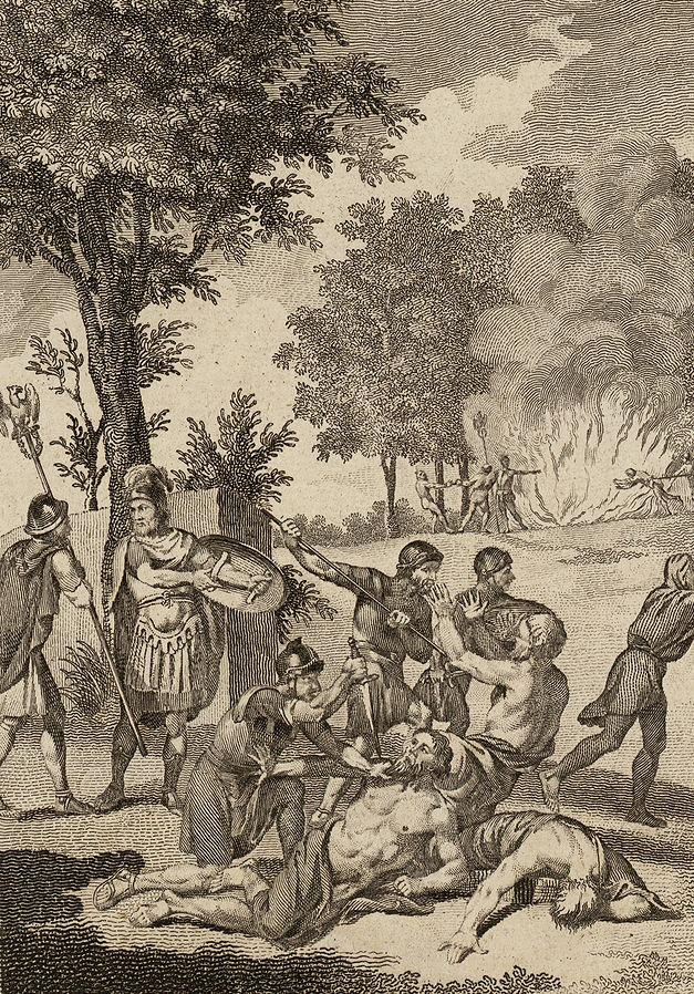 Romans killing druids. Photo credits: Thomas Pennant (1726-1798); via the National Library of Wales.